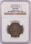 1788 Mass Cent Certified W/Period NGC AU-55
