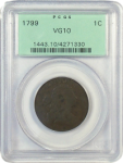 1799 Large Cent S-189 PCGS certified VG-10